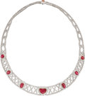 Estate Jewelry:Necklaces, Ruby, Diamond, Platinum Necklace. ...