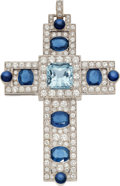 Estate Jewelry:Necklaces, Aquamarine, Sapphire, Diamond, White Gold Pendant . ...