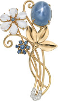 Estate Jewelry:Brooches - Pins, Star Sapphire, Moonstone, Sapphire, Diamond, Gold Brooch, Wordley, Allsopp, and Bliss. ...