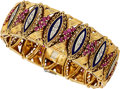 Estate Jewelry:Bracelets, Ruby, Diamond, Enamel, Gold Bracelet. . ...
