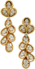 Estate Jewelry:Earrings, Diamond, Gold Convertible Earrings. ... (Total: 2 Items)