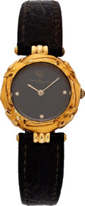 Estate Jewelry:Watches, Carrera y Carrera Lady's Diamond, Gold, Leather Strap Watch. ...