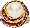 Estate Jewelry:Rings, South Sea Cultured Pearl, Diamond, Ruby, Gold Ring. ...