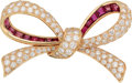 Estate Jewelry:Brooches - Pins, Diamond, Ruby, Gold Brooch, Oscar Heyman Bros.. ...