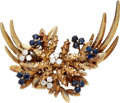 Estate Jewelry:Brooches - Pins, Diamond, Sapphire, Gold Brooch. . ...