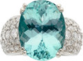 Estate Jewelry:Rings, Paraiba Tourmaline, Diamond, White Gold Ring. ...