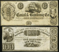 Obsoletes By State:Louisiana, LA - Lot of 2 New Orleans Canal & Banking Co. $100 Remainders.. ... (Total: 2 notes)