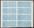 Confederate Notes:1864 Issues, Confederate States of America - Uncut Sheet of Eight T-68 $10 1864 Backs.. ...