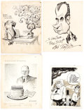 Original Comic Art:Comic Strip Art, Lute Pease, Art Bimrose, and Others Presidential CartoonsGroup of 7 Original Art (1940s-2004).... (Total: 7 Original Art)