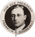 Political:Pinback Buttons (1896-present), Franklin D. Roosevelt: Real Photo 1920 Vice Presidential Pin....