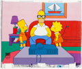 """Animation Art:Production Cel, The Simpsons """"Springfield... Or How I learned to Stop Worrying and Love Legalized Gambling"""" Homer, Bart, and Lisa Prod..."""