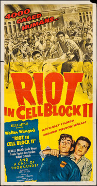 """Riot in Cell Block 11 (Allied Artists, 1954). Three Sheet (41"""" X 79""""). Drama"""