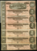 Confederate Notes:1864 Issues, CSA - Lot of 6 T-68 1864 $10 Notes.. ... (Total: 6 notes)