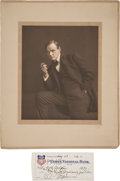 Autographs:Celebrities, Clarence Darrow: Stunning Studio Portrait with Signed Check....(Total: 2 Items)