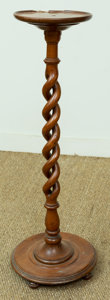 Furniture , A Carved Wood Barley Twist Plant Stand, early 20th century. 33 inches (83.8 cm). ...
