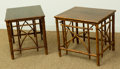 Furniture , A Pair of Chinese Bamboo and Teak End Tables, 20th century. 19 inches high x 17-1/8 inches wide (48.3 x 43.5 cm). ... (Total: 2 Items)