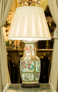 Asian:Chinese, A Chinese Rose Medallion Porcelain Vase Mounted as a Lamp. 32inches high (81.3 cm). ...