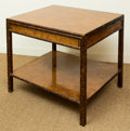 Furniture , An American Modern Burled Walnut and Faux Bamboo Two-Drawer Low Table, late 20th century. 27 h x 36 w x 28 d inches (68.6 x ...