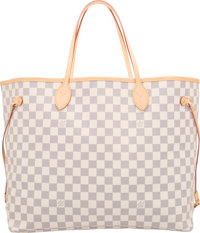 """Louis Vuitton Damier Azure Canvas Neverfull GM Tote Bag Pristine Condition 15"""" Width x 12"""" Height"""