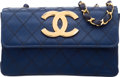 "Luxury Accessories:Bags, Chanel Navy Quilted Satin Shoulder Bag. Very Good to ExcellentCondition. 7"" Width x 4.5"" Height x 1.5"" Depth. ..."