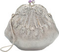 """Luxury Accessories:Bags, Judith Leiber Half Bead Silver Crystal Chatelaine MinaudiereEvening Bag. Good to Very Good Condition. 6"""" Width x 5""""Heigh..."""
