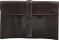 """Luxury Accessories:Bags, Hermes Marron Fonce Calf Box Leather Jige MM Clutch Bag. HCircle, 1978. Very Good Condition. 11.5"""" Width x 7""""Hei..."""