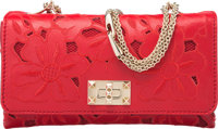 """Valentino Red Floral Embroidered Leather Girello Flap Bag Excellent Condition 9.5"""" Width x 5.5"""""""