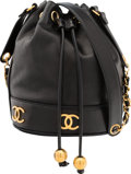 """Luxury Accessories:Bags, Chanel Black Lambskin Leather Bucket Bag . Very Good Condition. 8"""" Width x 9"""" Height x 6"""" Depth. ..."""
