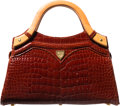 "Luxury Accessories:Bags, Lana Marks Shiny Brown Crocodile Top Handle Bag. Very Good toExcellent Condition. 9.5"" Width x 5"" Height x 3.5""Depth..."
