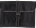 "Luxury Accessories:Bags, Hermes Black Calf Box Leather Jige GM Clutch Bag. H Circle,1978. Very Good Condition. 13"" Width x 10"" Height x1""..."