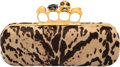 "Luxury Accessories:Bags, Alexander McQueen Leopard Ponyhair Knuckle Duster Skull Clutch Bag. Excellent Condition. 9"" Width x 3.5"" Height x 1.5""..."
