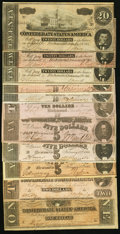 Confederate Notes:Group Lots, CSA - Lot of 11 Mixed 1862 & 1864 Notes.. ... (Total: 11 notes)