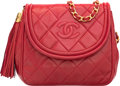 "Luxury Accessories:Bags, Chanel Red Quilted Lambskin Leather Flap Bag . GoodCondition. 8.5"" Width x 6"" Height x 2"" Depth. ..."