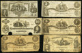 Confederate Notes:Group Lots, CSA - Lot of 6 Mixed 1861-1862 Types.. ... (Total: 6 notes)