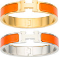 "Luxury Accessories:Accessories, Hermes Set of Two; Orange H Enamel Narrow Enamel Clic-Clac PMBracelets. Excellent to Pristine Condition. .5"" Width x... (Total: 2 )"
