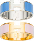 "Luxury Accessories:Accessories, Hermes Set of Two; Pink & Blue Enamel Narrow Clic-Clac PMBracelets. Excellent to Pristine Condition. .5"" Width x6.5""... (Total: 2 )"