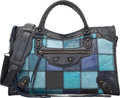 "Luxury Accessories:Bags, Balenciaga Blue Distressed Lambskin Leather Patchwork Classic CityBag. Excellent Condition. 15"" Width x 9.5"" Heightx..."