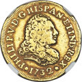 Mexico, Mexico: Philip V gold 2 Escudos 1732 Mo-F VF Details (SurfaceHairlines) NGC,...