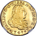 Mexico, Mexico: Philip V gold 4 Escudos 1747 Mo-MF VF Details (MountRemoved, Cleaned) NGC,...
