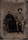 Western Expansion:Indian Artifacts, Large Size Studio Photo Tintype of American Indian Couple....