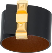 Hermes Black Chamonix Leather Imprevisible Bracelet with Gold Hardware R Square, 2014 Excellent t