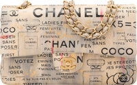 Chanel Limited Edition Beige & Black Hand Painted Lambskin Leather Ladies First Medium Double Flap Bag Excellen