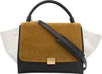 "Celine Brown Suede & Black and White Leather Trapeze Bag Very Good to Excellent Condition 11.5"" W"