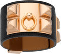 """Luxury Accessories:Accessories, Hermes Black Epsom Leather Collier de Chien PM Bracelet with RoseGold Hardware. T, 2015. Pristine Condition.1.5""""..."""
