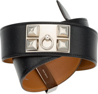 Hermes 80cm Black Calf Box Leather Collier de Chien Belt with Palladium Hardware Very Good Condition