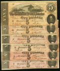 Confederate Notes:1864 Issues, CSA - Lot of 6 T-69 1864 $5 Notes.. ... (Total: 6 notes)