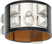 Hermes Black Calf Box Leather Collier de Chien PM Bracelet with Palladium Hardware R Square, 2014
