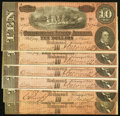 Confederate Notes:1864 Issues, CSA - Lot of 6 T-68 1864 $10 Red Tinted Notes.. ... (Total: 6 notes)