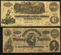 Confederate Notes:Group Lots, T39 $100 1862 PF-5 Cr. 291. T65 $100 1864 PF-3 Cr. 494.. ...(Total: 2 notes)