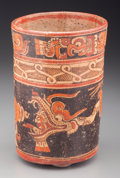American Indian Art:Pottery, A Beautiful Maya Polychrome Vase with Underworld Imagery. c. 600 -900 AD...